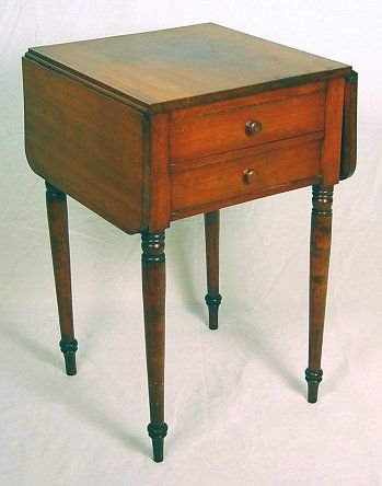 1017A: 19th C AMERICAN CHERRY 2 DRAWER WORK STAND