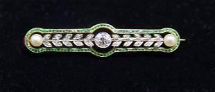 18K GOLD & DIAMOND RUSSIAN BAR PIN 1880