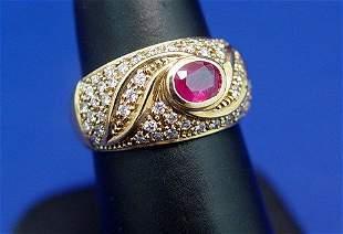 18 K DESIGNER RUBY & DIAMOND RING