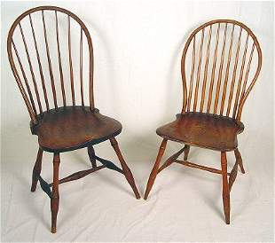 TWO EARLY 19TH C WINDSOR LOOP BACK SIDE CHAIRS