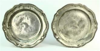 c.1750 Pair of German Pewter Plates, Strasbourg