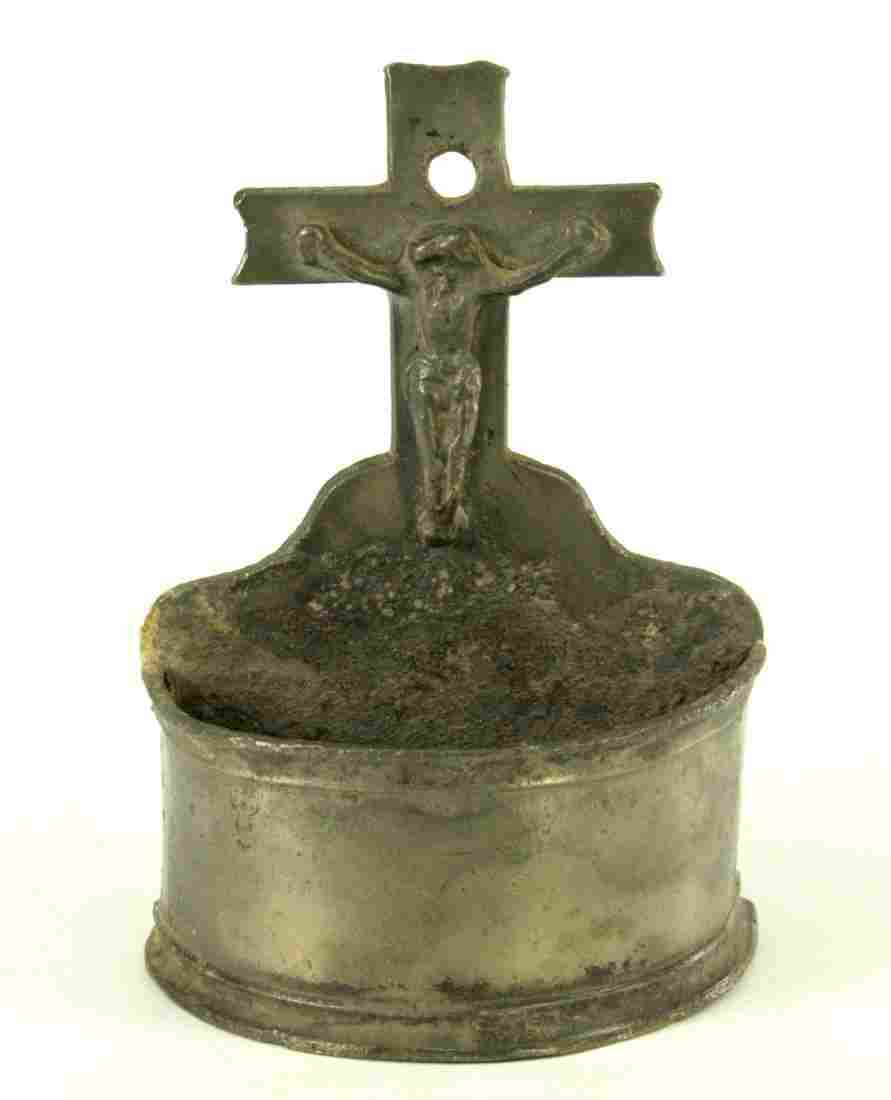 1600's Spanish Dutch Pewter Crucifix Holy Water Front