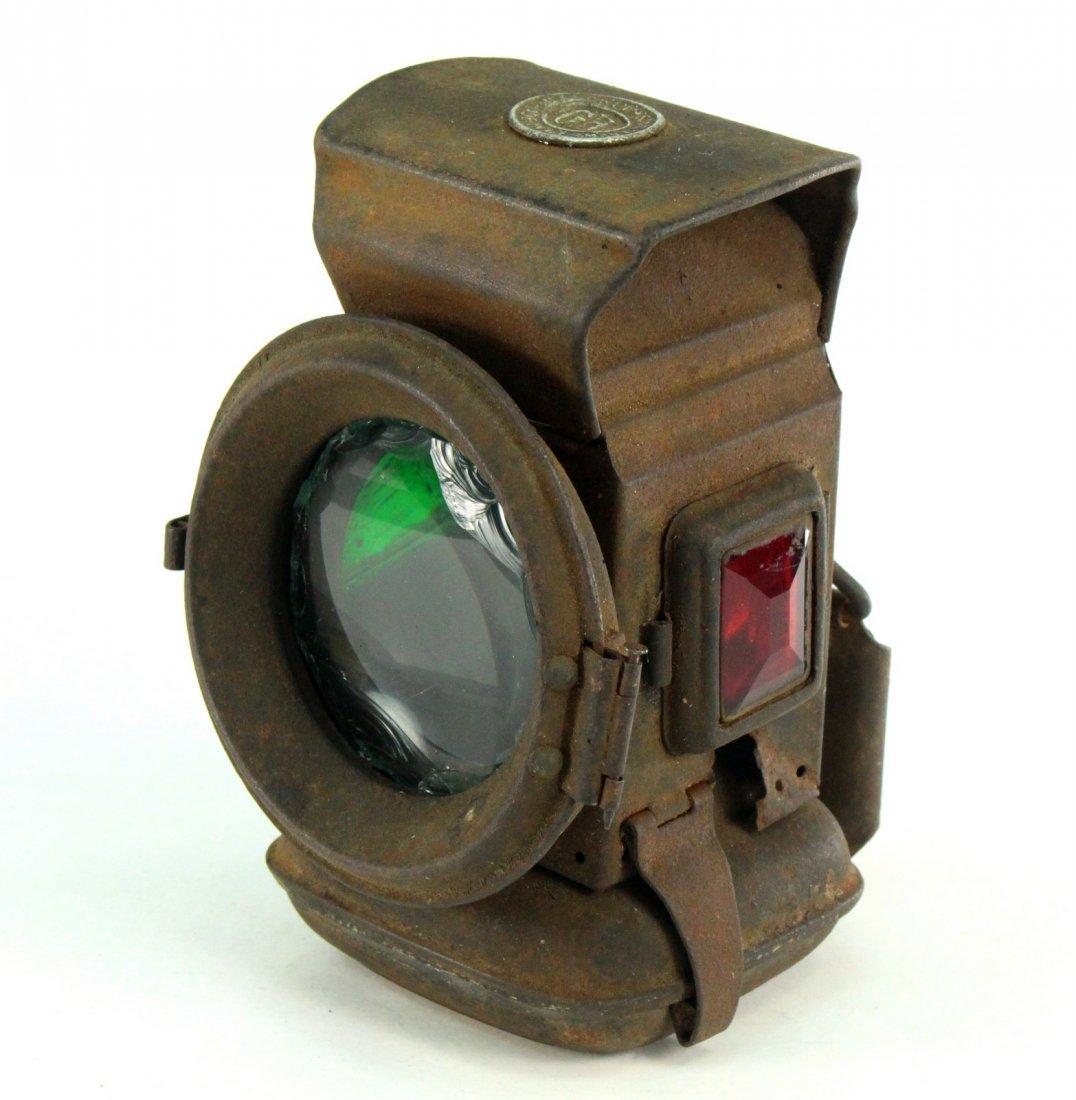 Tin Railroad RR Lantern Lamp Colored Lenses HAECKET