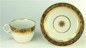 c.1800 Staffordshire Porcelain Blue Gold Cup & Saucer