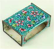 Antique Chinese Canton Enamel Copper Match Box Holder