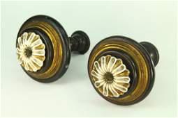 Antique Pair Wood, Brass & Porcelain Curtain Tie Backs