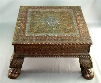 c.1898 India Silver & Brass Table CHAGANAL & VRAIJLAL