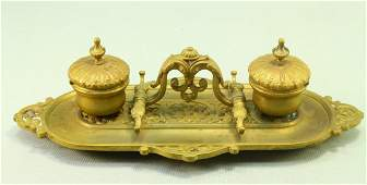 1800's Ornate Cast Bronze Double Ink Stand Inkwell