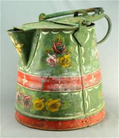 Antique Folk Art Painted Tin Tole Jug - BARNARD'S INN