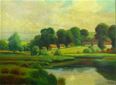 American School O/C Landscape w. River JOHN PAINE