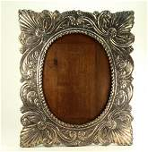 Sterling Silver Repousse  Oval Picture Photo Frame