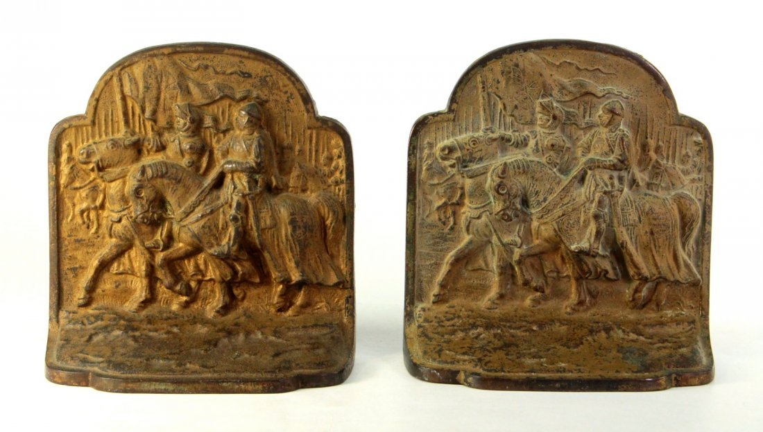 Pair Bookends Cast Iron Knights Army on Horses Hubley