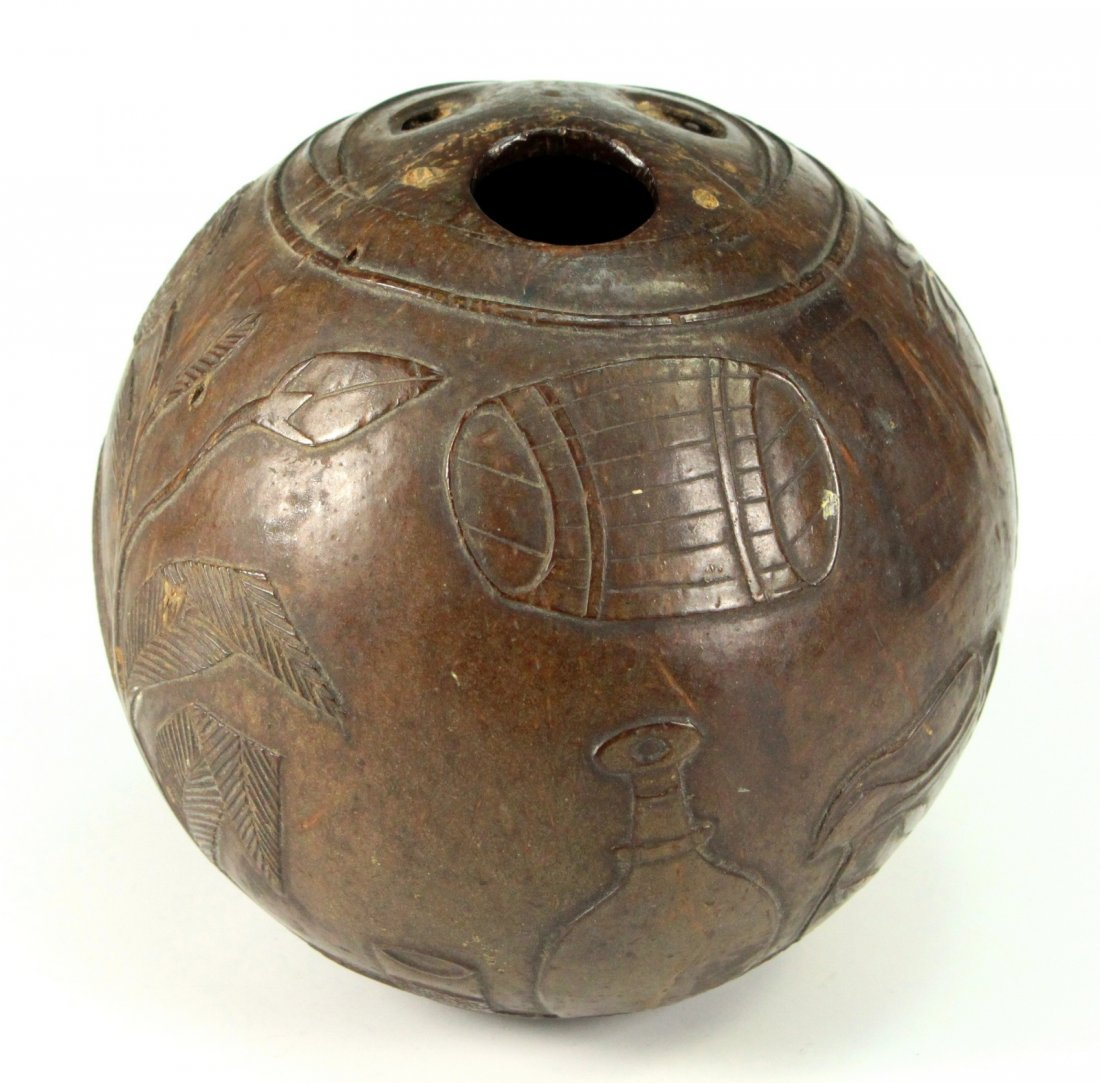 18th C. Sailor Carved Coconut Drinking Cup Folk Art