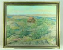 Scandinavian School XIX-XX c. Pastel Drawing Landscape