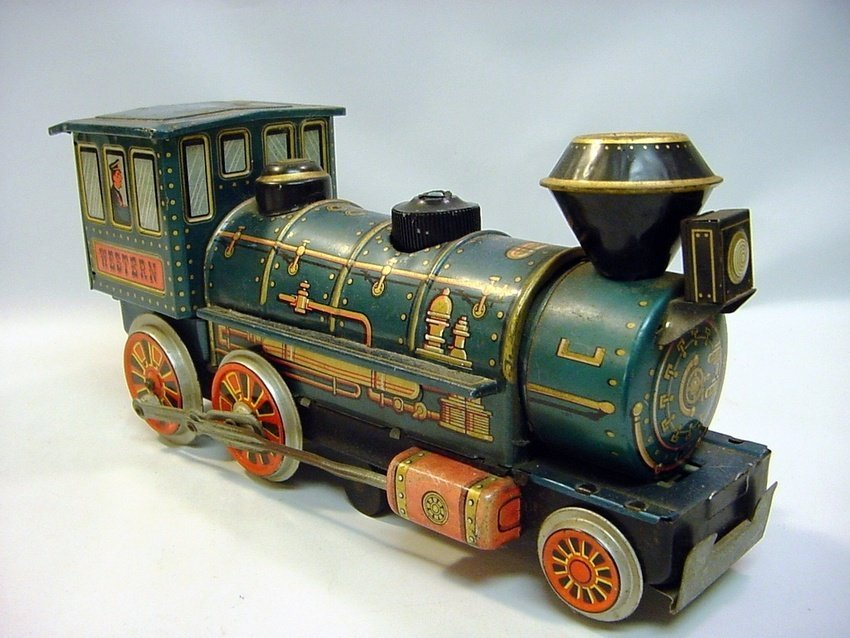 Vintage Japan Tin Battery-Operated Train Engine