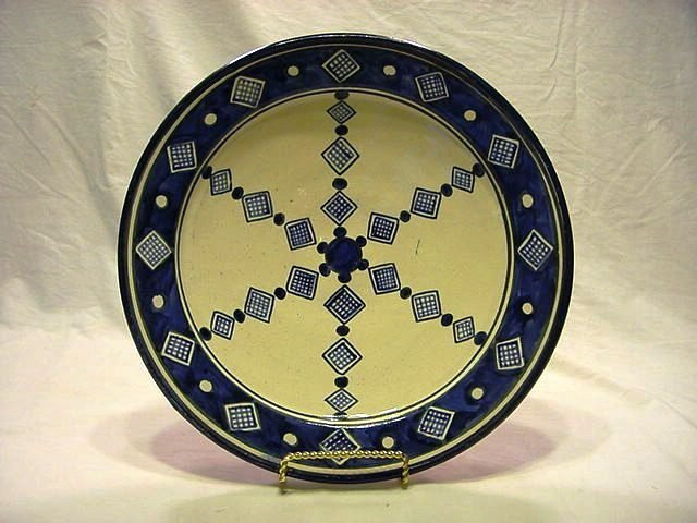 Signed Moroccan Blue & White Wall Charger Plate