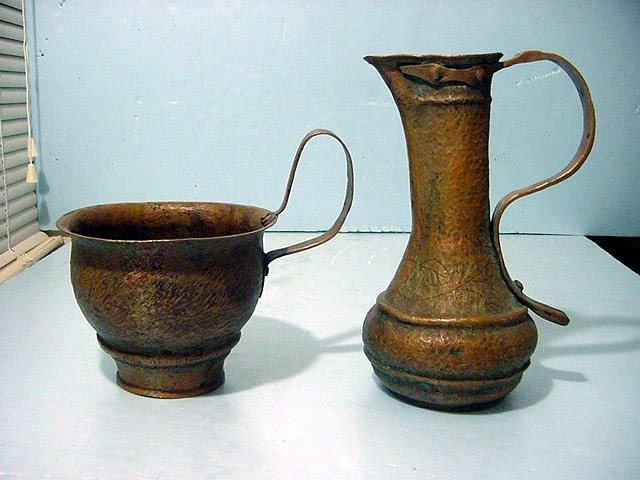 Early Judaica Copper Spiritual Pitcher & Chalice