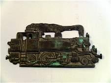 1800s Cast Bronze Steam Locomotive RR Plaque