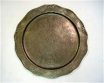Antique FOLK ART Tooled English Pewter Plate