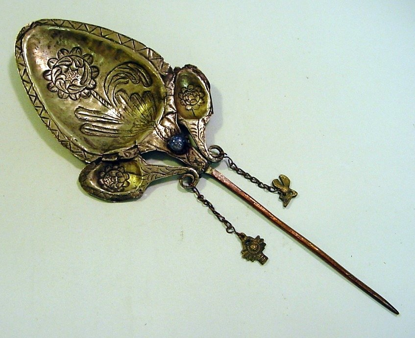 Antique Peruvian Silver/Copper & Glass Inca Tupu