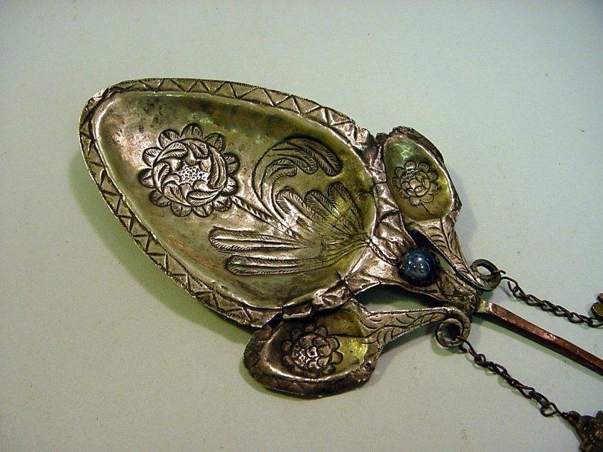 Antique Peruvian Silver/Copper & Glass Inca Tupu - 2