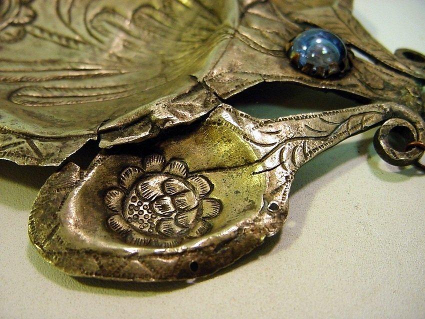 Antique Peruvian Silver/Copper & Glass Inca Tupu - 3