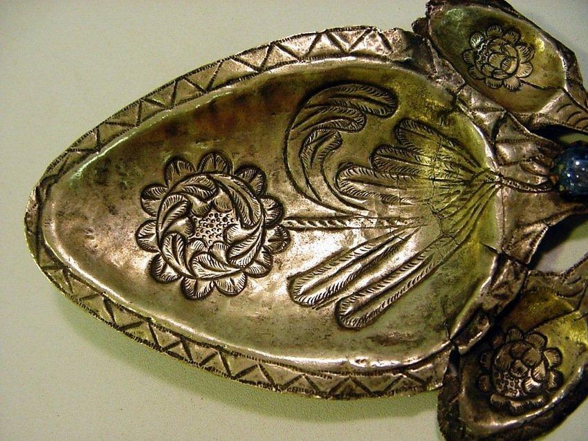 Antique Peruvian Silver/Copper & Glass Inca Tupu - 7