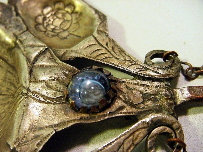 Antique Peruvian Silver/Copper & Glass Inca Tupu - 8