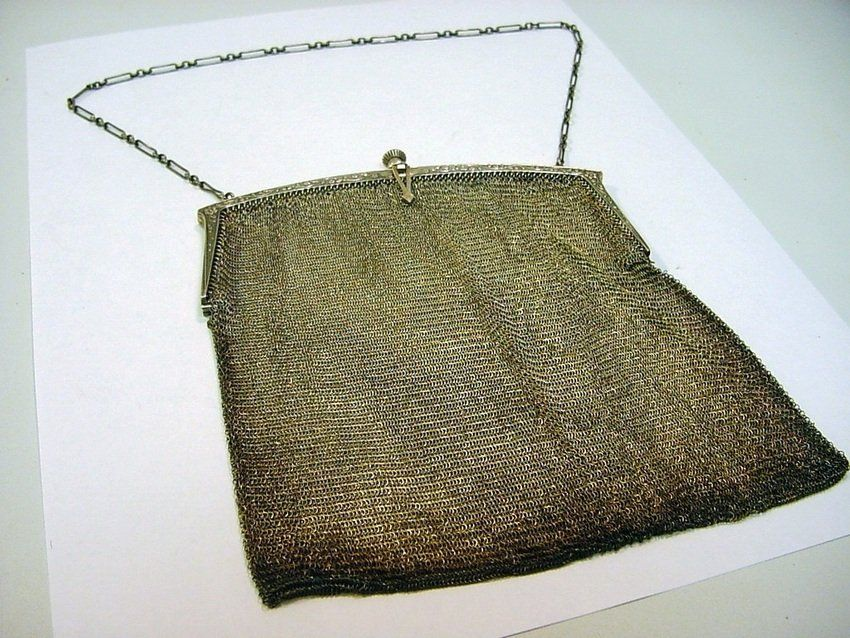 Antique STERLING SILVER Ladies Chain Purse 142 g