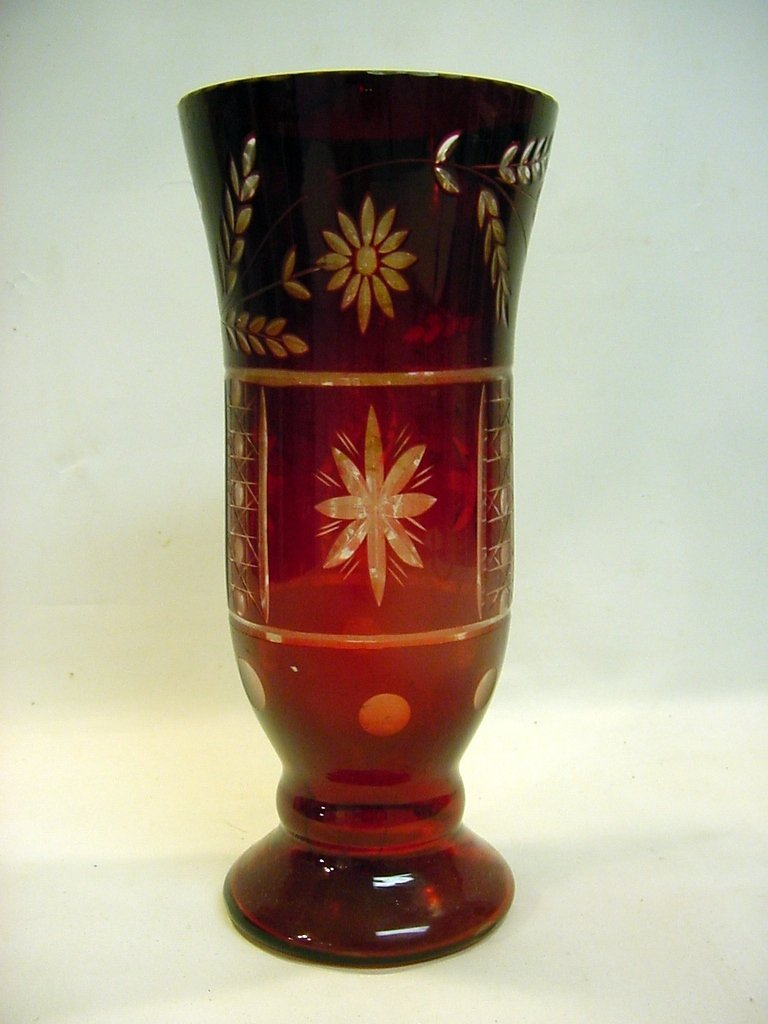 c1900 Cut Ruby to Clear Blown Glass Vase 9.5""