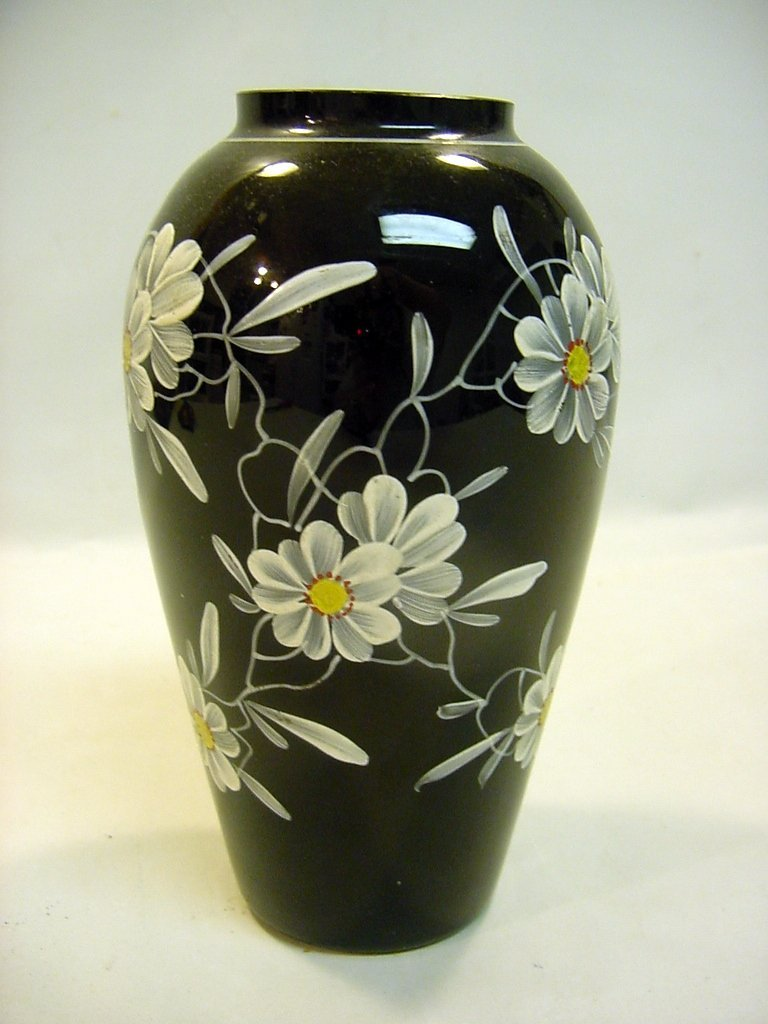 c1890 Hand Blown Enameled Opaque Black Glass Vase