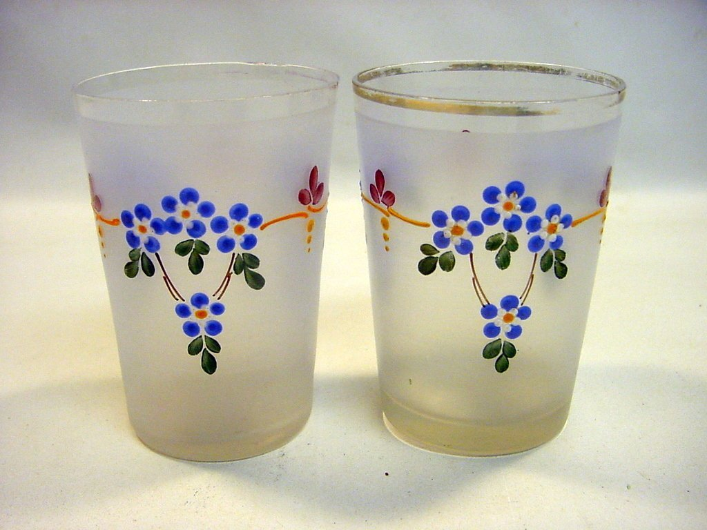 c1890's Pair Frosted & Enameled Bohemian Tumblers