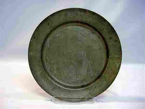 1734 German Folk Art Etched Pewter Bucolic Plate