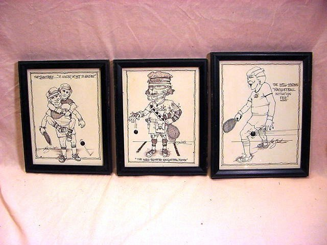 HAL SMITH Baseball, 3 Racquetball Ink Caricatures