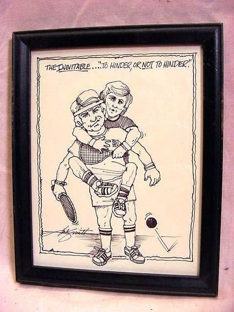 HAL SMITH Baseball, 3 Racquetball Ink Caricatures - 2