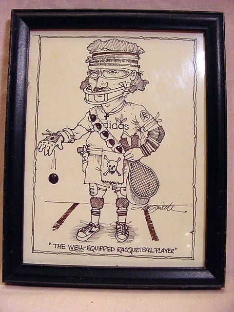 HAL SMITH Baseball, 3 Racquetball Ink Caricatures - 5