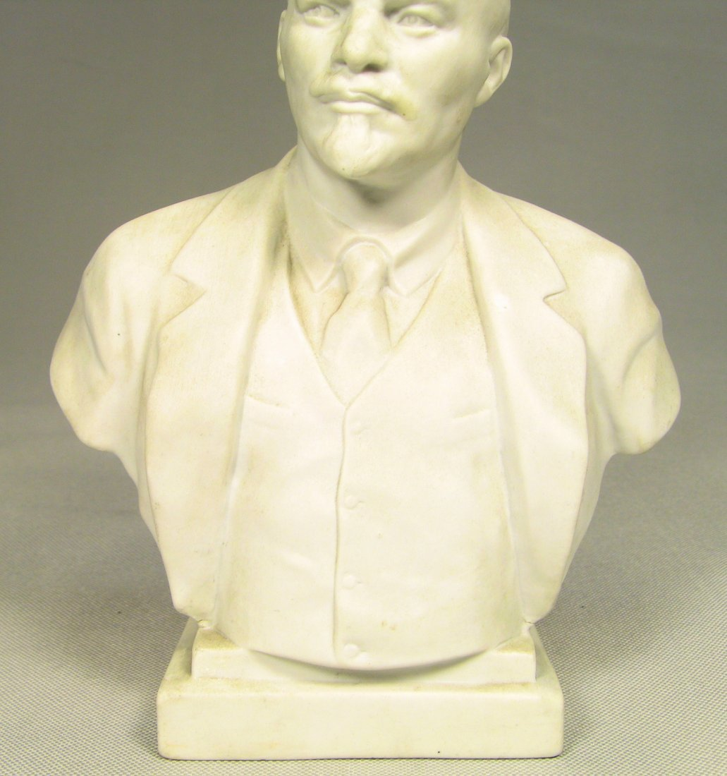 Bust of LENIN Russian LOMONOSOV Factory Fine Bisque - 3