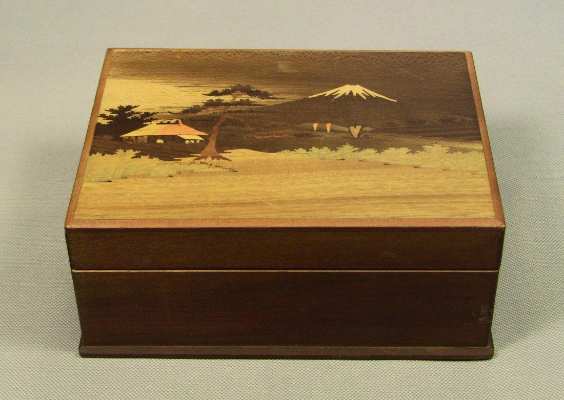 1930's Japanese Veneer Inlay Wooden Jewelry Box Mt.Fuji