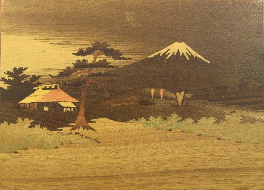 1930's Japanese Veneer Inlay Wooden Jewelry Box Mt.Fuji - 2