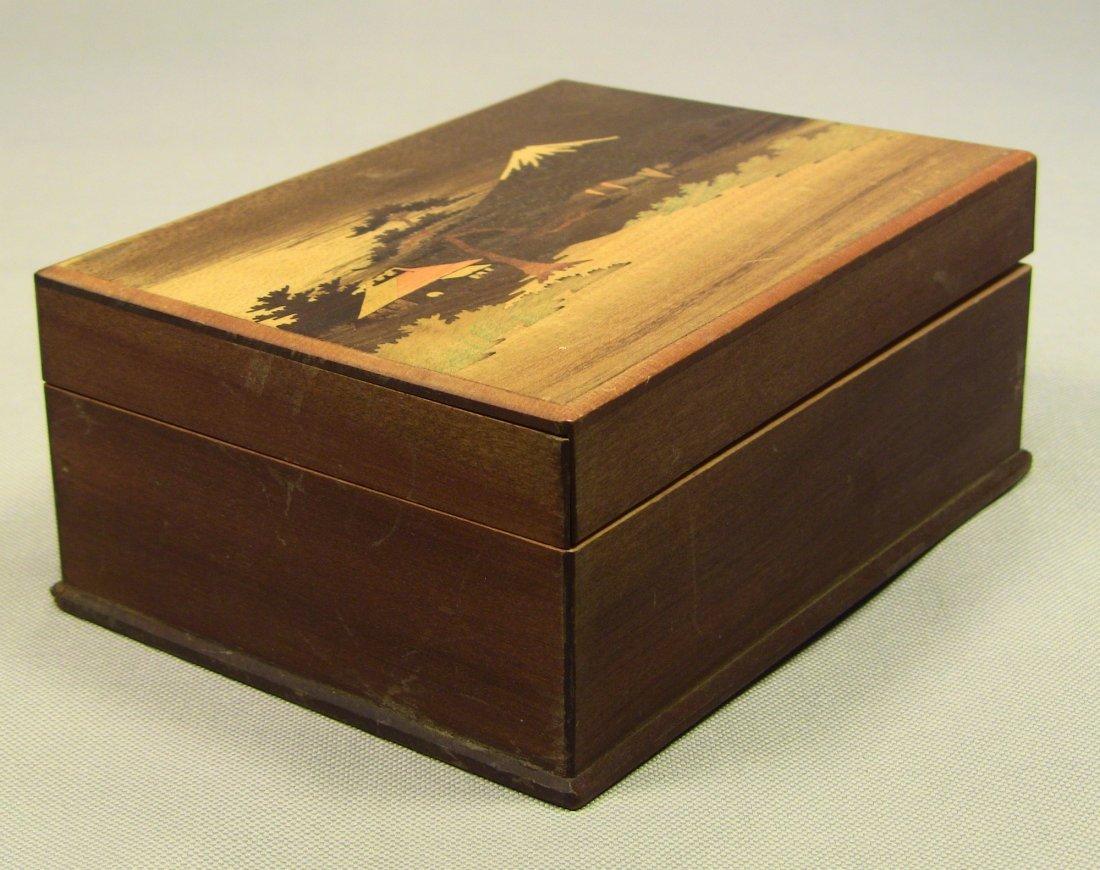 1930's Japanese Veneer Inlay Wooden Jewelry Box Mt.Fuji - 3