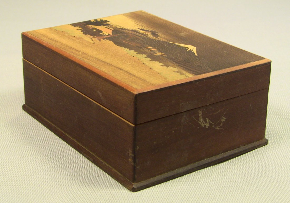 1930's Japanese Veneer Inlay Wooden Jewelry Box Mt.Fuji - 4