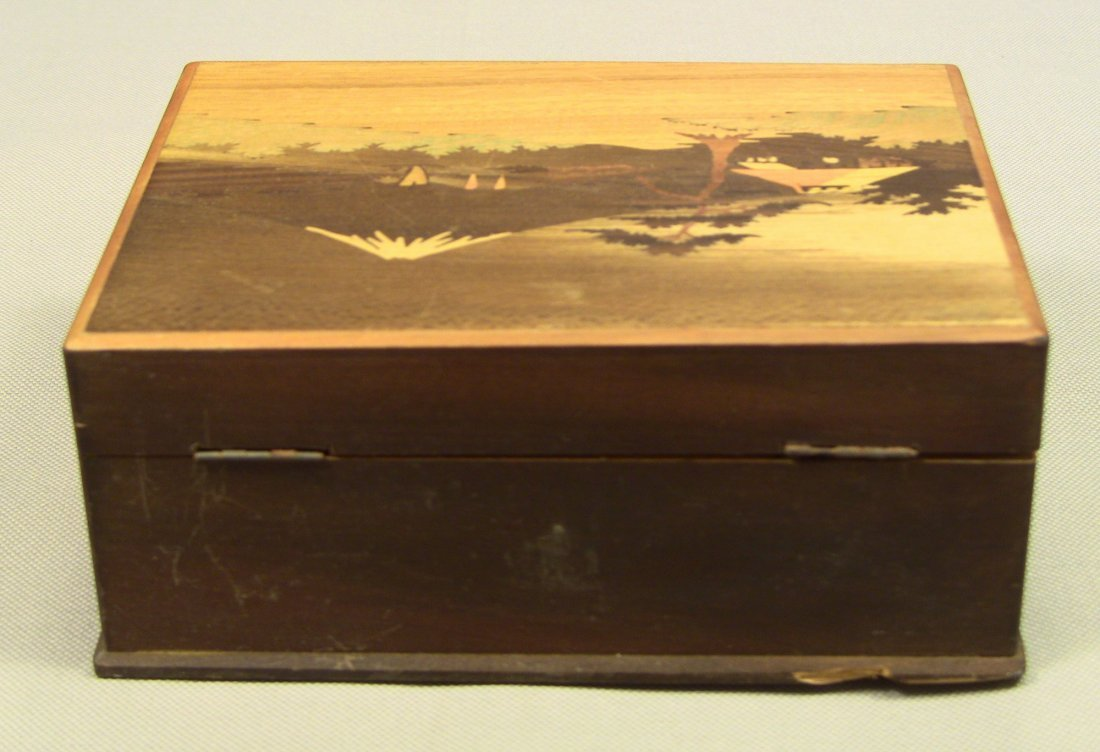 1930's Japanese Veneer Inlay Wooden Jewelry Box Mt.Fuji - 5