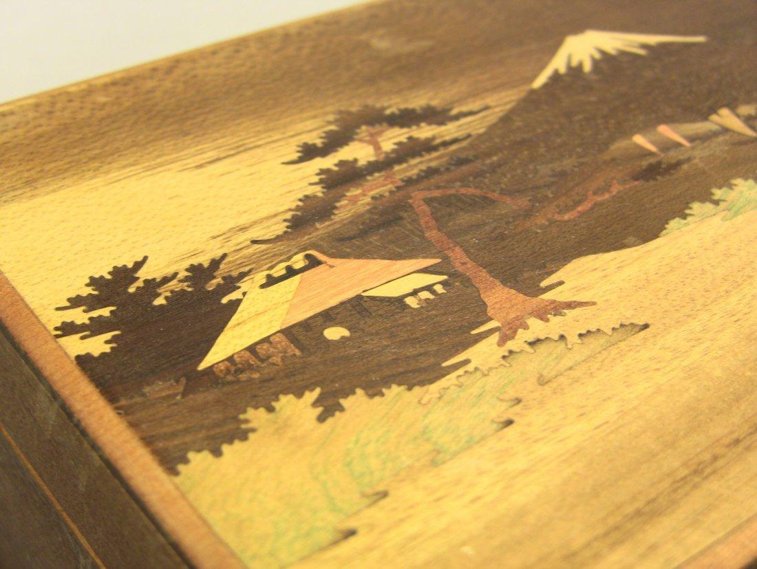 1930's Japanese Veneer Inlay Wooden Jewelry Box Mt.Fuji - 6
