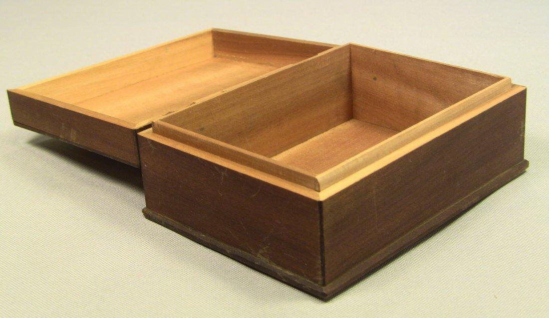 1930's Japanese Veneer Inlay Wooden Jewelry Box Mt.Fuji - 7