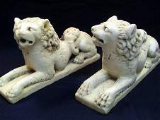 XV/XVI c. A.D. Early Renaissance Pair of Marble Lions
