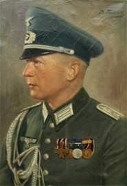 WWII O/C - Portrait of a Wehrmacht Hauptmann Hauptleute
