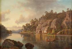 1864 CARL AUGUST FAHLGREN (1819-1905) O/C Lakescape