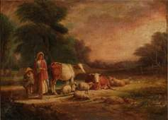 1862 O/C W.GARLAND Signed Pastoral Scene Cows, Sheep