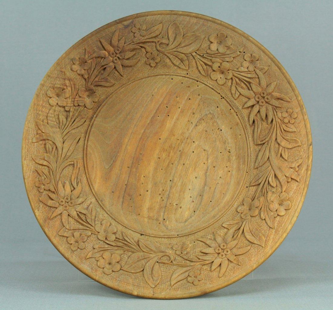 1800s Tyrol/Bavaria Folk Art Treen Ware Plate Edelweiss