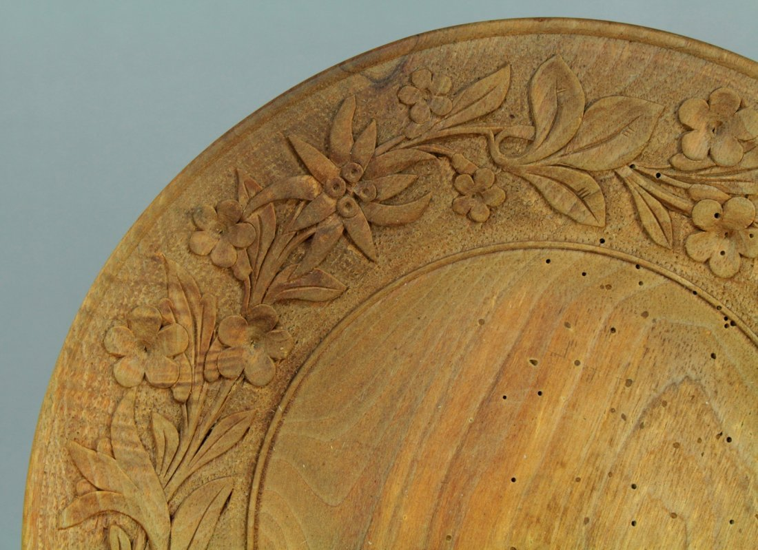 1800s Tyrol/Bavaria Folk Art Treen Ware Plate Edelweiss - 2